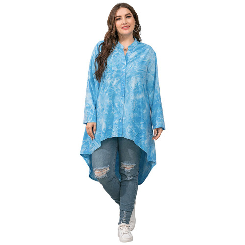 Light Blue Irregular Tie Dye Plus Size Blouse TQK220057-30