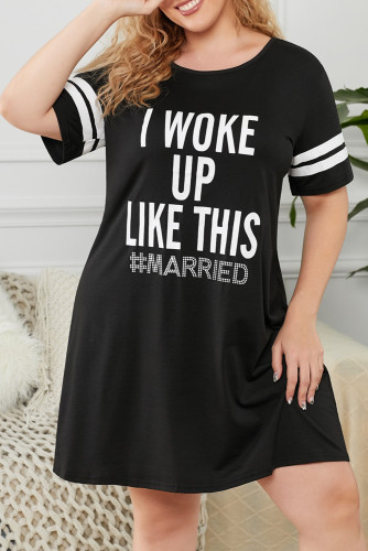Black Graphic Print Striped Short Sleeve Plus Size Sleep Dress LC31358-2