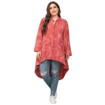 Red Irregular Tie Dye Plus Size Blouse TQK220057-3