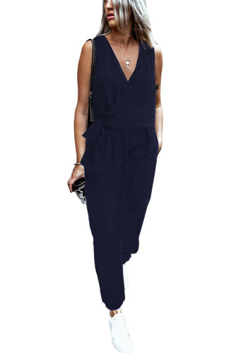 Blue Deep V-neck Sleeveless Solid Jumpsuit LC641376-5