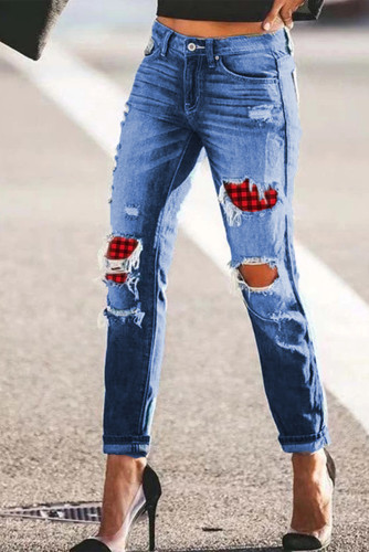 Sky Blue Plaid Patchwork Hollow Out Ripped Jeans LC78573-4