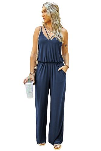 Blue Spaghetti Strap Wide Leg Jumpsuit LC641361-5