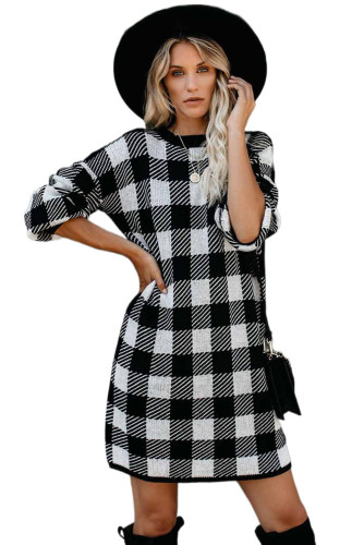 Black Gingham Balloon Sleeve Sweater Dress LC222017-2