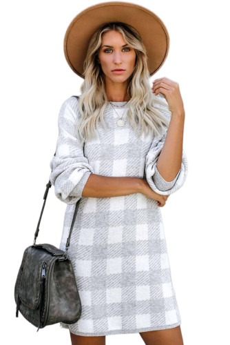 Gray Gingham Balloon Sleeve Sweater Dress LC222017-11
