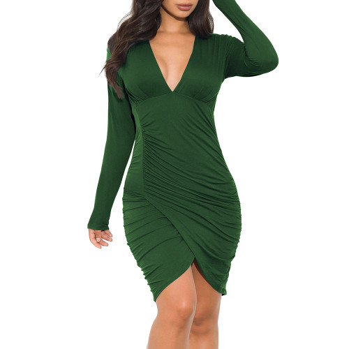 Army Green Pleated V Neck Long Sleeve Bodycon Dress TQK310432-27