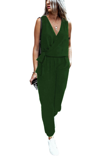 Green Deep V-neck Sleeveless Solid Jumpsuit LC641376-9