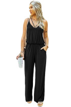 Black Spaghetti Strap Wide Leg Jumpsuit LC641361-2