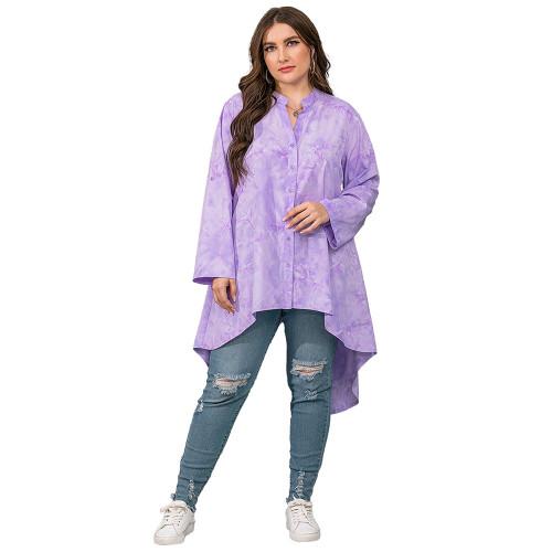 Light Purple Irregular Tie Dye Plus Size Blouse TQK220057-38