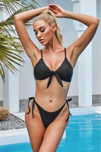 Solid Black Spaghetti Straps Low Waist Bikini Set LC43156-2