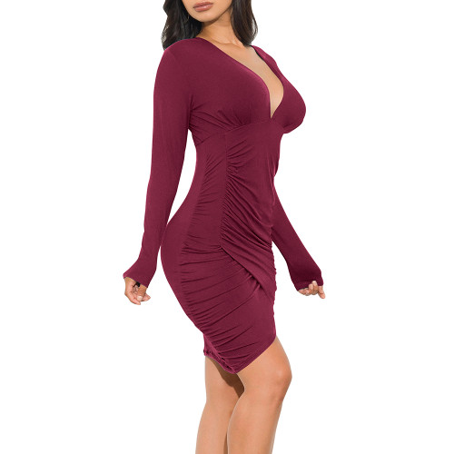 Wine Red Pleated V Neck Long Sleeve Bodycon Dress TQK310432-103