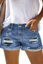 Camo Patchwork Rolled Hem Denim Shorts LC78823-9