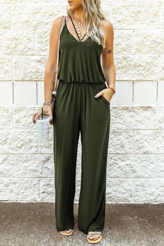 Green Spaghetti Strap Wide Leg Jumpsuit LC641361-9