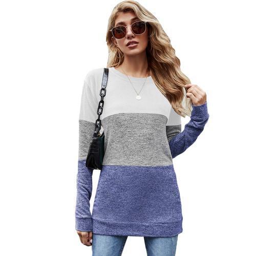 Blue Color Block Loose Style Pullover Sweatshirt TQK230295-5