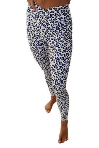 Cross High Waist Leopard Yoga Leggings LC76134-1