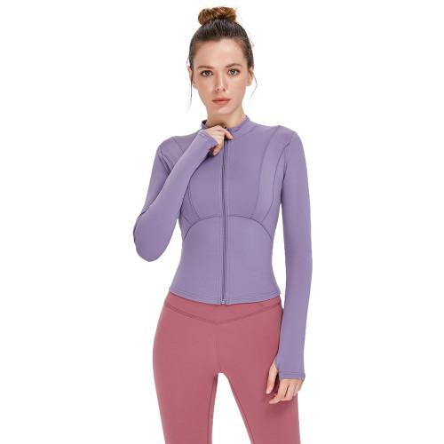 Ash Purple Zipper Sportswear Yoga Coat TQE39080-88