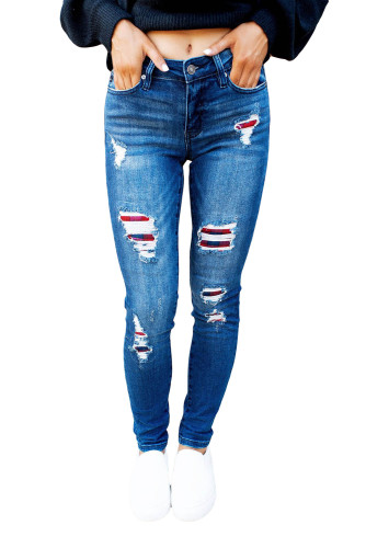 Dark Wash Mid Rise Distressed Plaid Patch Skinny Jeans LC78499-5