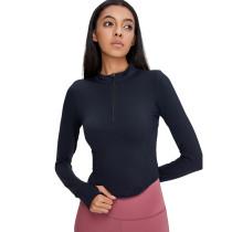 Black 1/2 Zipper Up Long Sleeve Yoga Pullover Top TQE39084-2