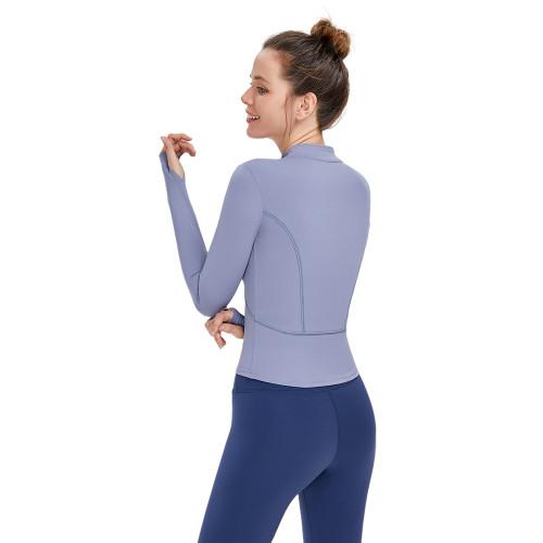 Blue Grey Zipper Sportswear Yoga Coat TQE39080-43