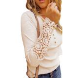 Apricot Button Up Crochet Lace Hem Sleeve Top TQK210567-18