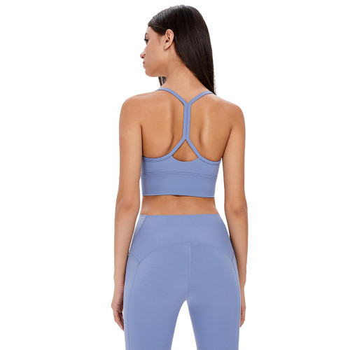 Ice Blue Back Butterfly Shape Fitness Yoga Bra TQE19086-215