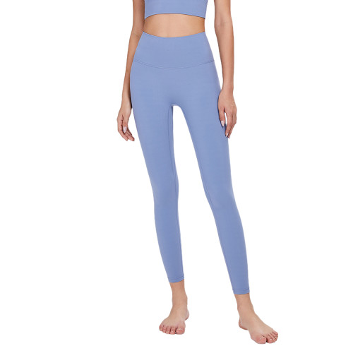 Ice Blue Without T Line High Waist Fitness Pants TQE69083-215