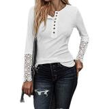 White Button Up Crochet Lace Hem Sleeve Top TQK210567-1