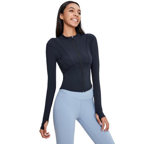 Black Zipper Sportswear Yoga Coat TQE39080-2
