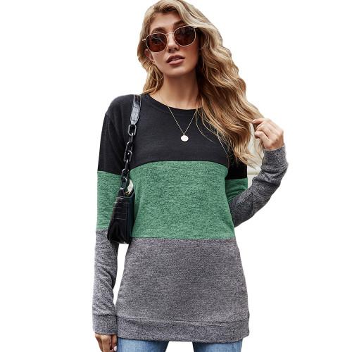 Green Color Block Loose Style Pullover Sweatshirt TQK230295-9