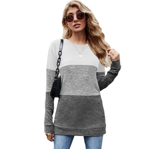 Gray Color Block Loose Style Pullover Sweatshirt TQK230295-11
