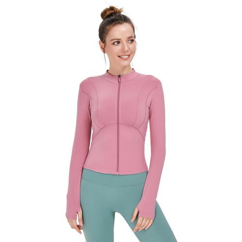 Rouge Powder Zipper Sportswear Yoga Coat TQE39080-111
