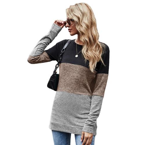 Khaki Color Block Loose Style Pullover Sweatshirt TQK230295-21