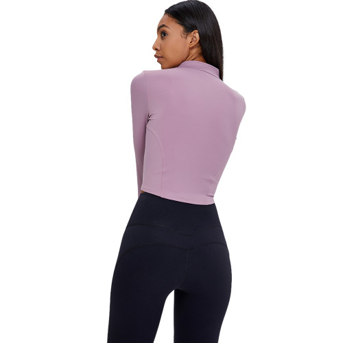Lilac 1/2 Zipper Up Long Sleeve Yoga Pullover Top TQE39084-216