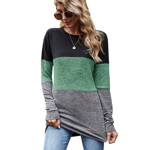 Green Color Block Loose Style Pullover Sweatshirt TQK230295-9