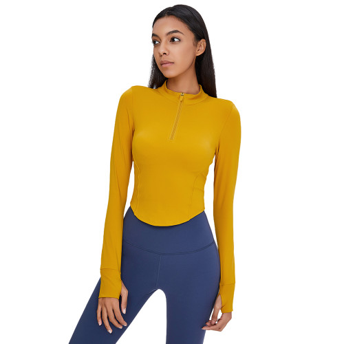 Yellow 1/2 Zipper Up Long Sleeve Yoga Pullover Top TQE39084-7