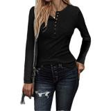 Black Button Up Crochet Lace Hem Sleeve Top TQK210567-2
