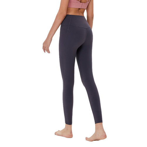 Gray Without T Line High Waist Fitness Pants TQE69083-11