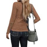 Khaki Button Up Crochet Lace Hem Sleeve Top TQK210567-21