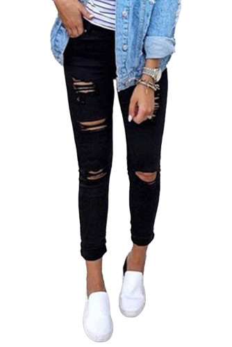 Black High Waist Ripped Skinny Jeans LC78552-2