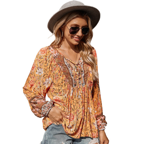 Orange Holiday Floral Print Lace Up Top TQK210580-14