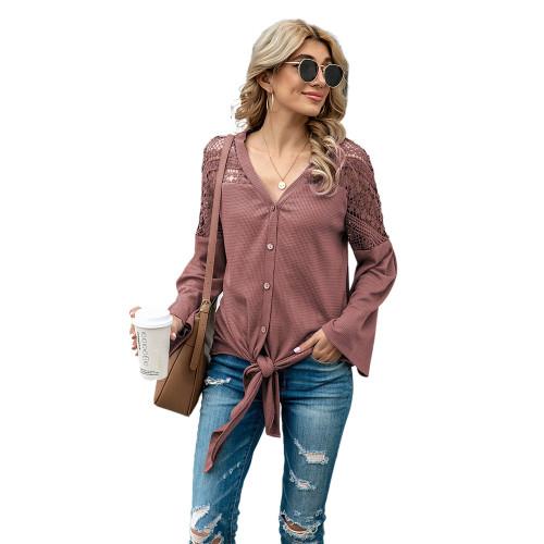 Pink Crochet Lace Insert Shoulder Waffle Tops TQK210571-10