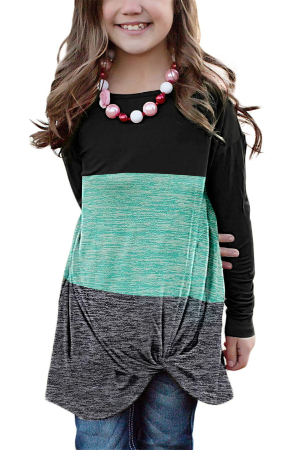 Green Little Girls Twisted Knot Color Block Long Sleeve Top TZ25143-9