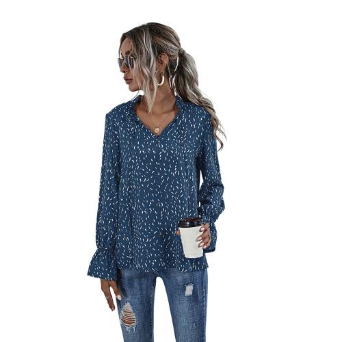 Blue Polka Dot V Neck Long Sleeve Top TQK210578-5