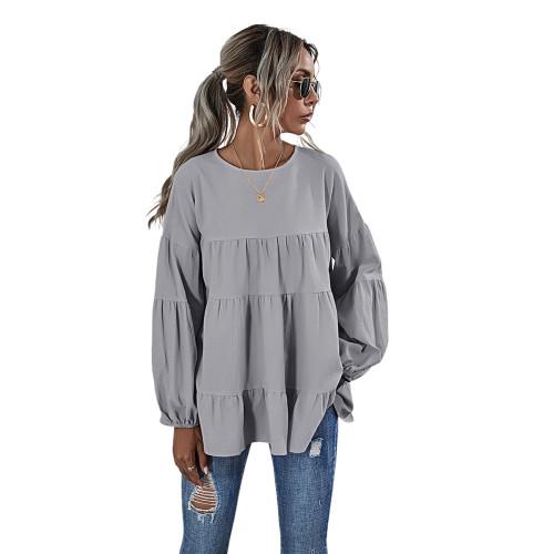 Gray Lantern Sleeve Loose Long Sleeve Top TQK210579-11