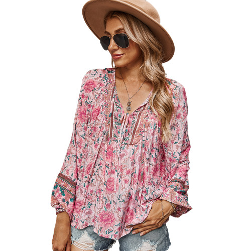 Pink Holiday Floral Print Lace Up Top TQK210580-10