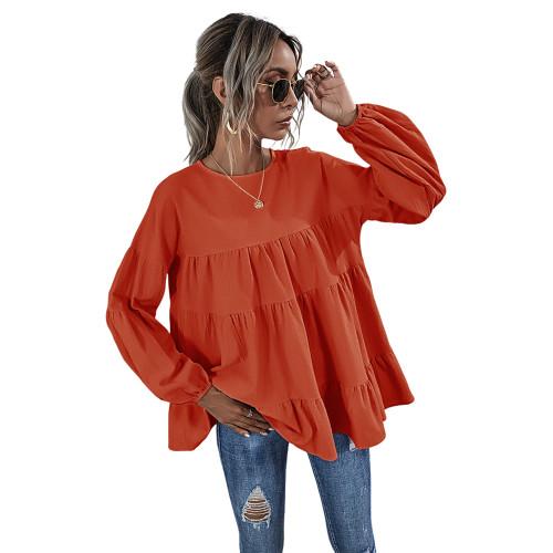 Tangerine Lantern Sleeve Loose Long Sleeve Top TQK210579-55