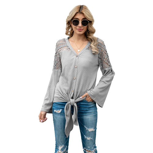 Gray Crochet Lace Insert Shoulder Waffle Tops TQK210571-11