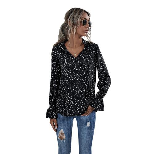 Black Polka Dot V Neck Long Sleeve Top TQK210578-2