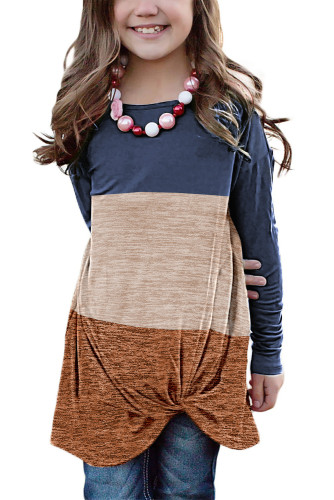 Blue Little Girls Twisted Knot Color Block Long Sleeve Top TZ25143-5