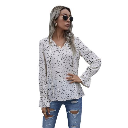 White Polka Dot V Neck Long Sleeve Top TQK210578-1