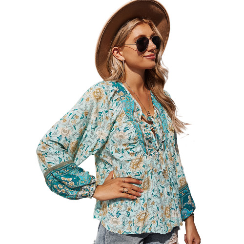 Green Holiday Floral Print Lace Up Top TQK210580-9
